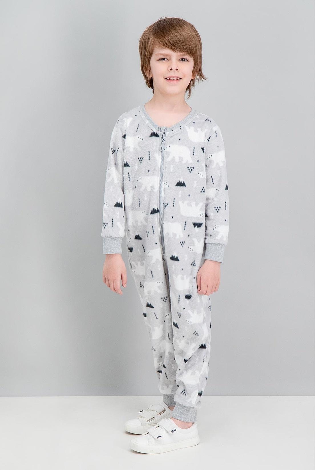 Erkek Çocuk Roly Poly Rolypoly White Bear Gri Polar Tulum